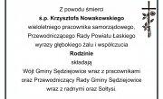 Z wielkim żalem przyjęliśmy wiadomość o śmierci Krzysztofa Nowakowskiego